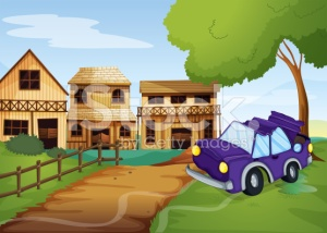 stock-illustration-26038210-car-accident-at-the-pathway-going-to-farm